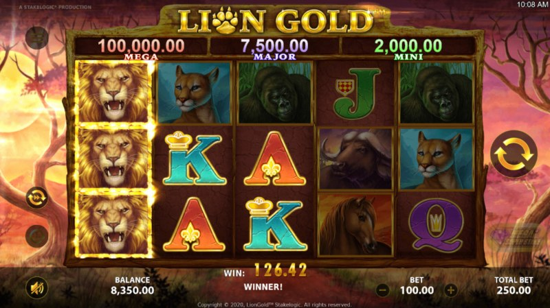 Lion Gold :: A three of a kind win