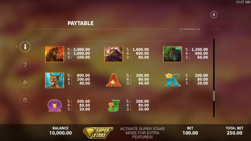 Lion Gold :: Paytable