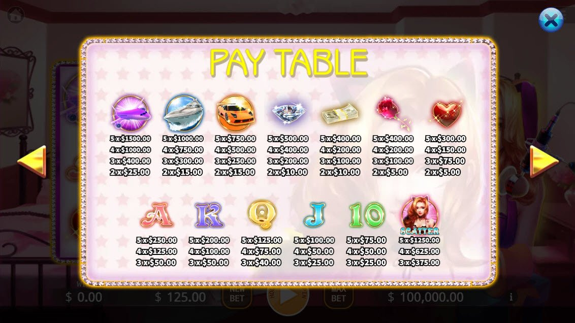 Live Streaming Star :: Paytable