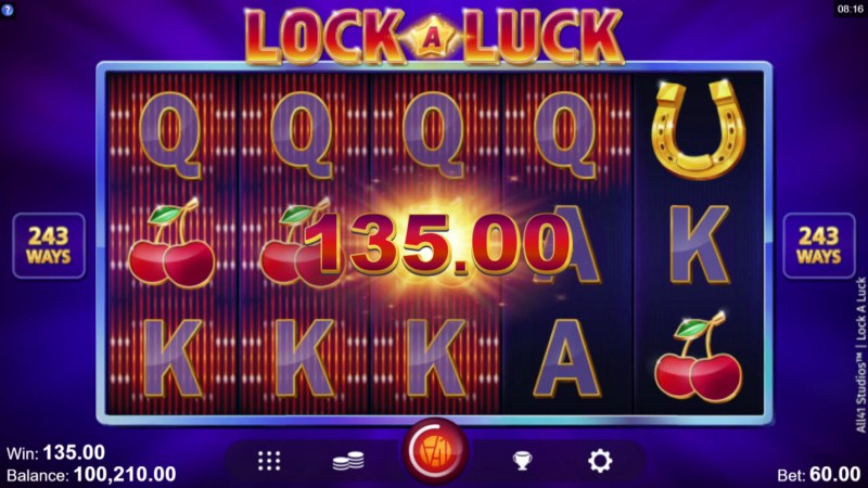 Lock A Luck :: Multiple winning combinations leads to a big win