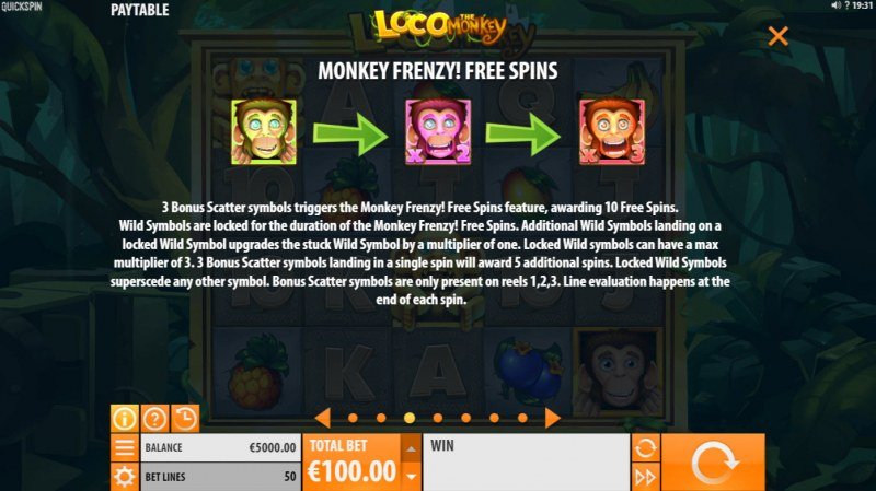 Loco the Monkey :: Free Spin Feature Rules