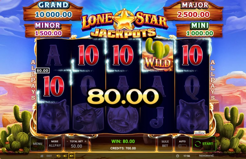 Lone Star Jackpots :: A four of a kind win