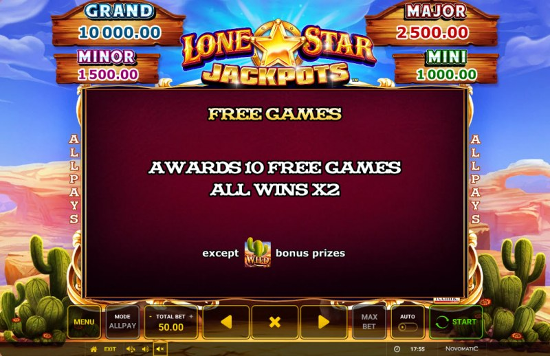 Lone Star Jackpots :: Free Games Feature