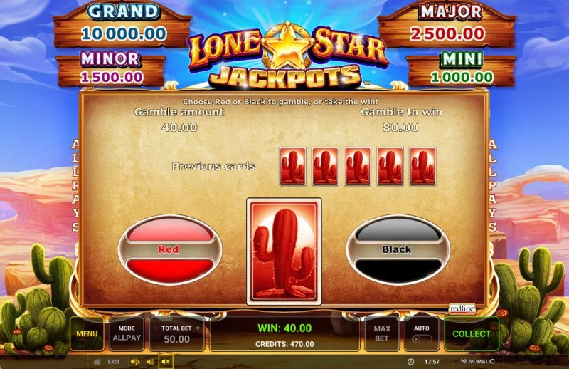 Lone Star Jackpots :: Red or Black Gamble Feature