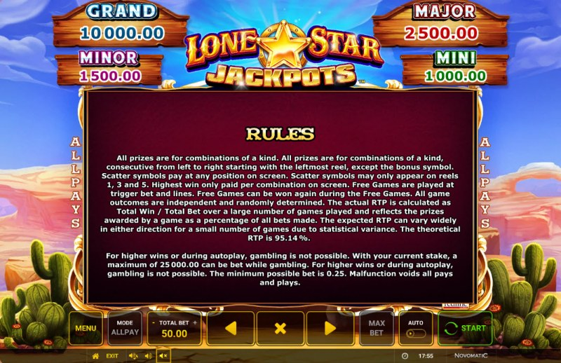 Lone Star Jackpots :: General Game Rules
