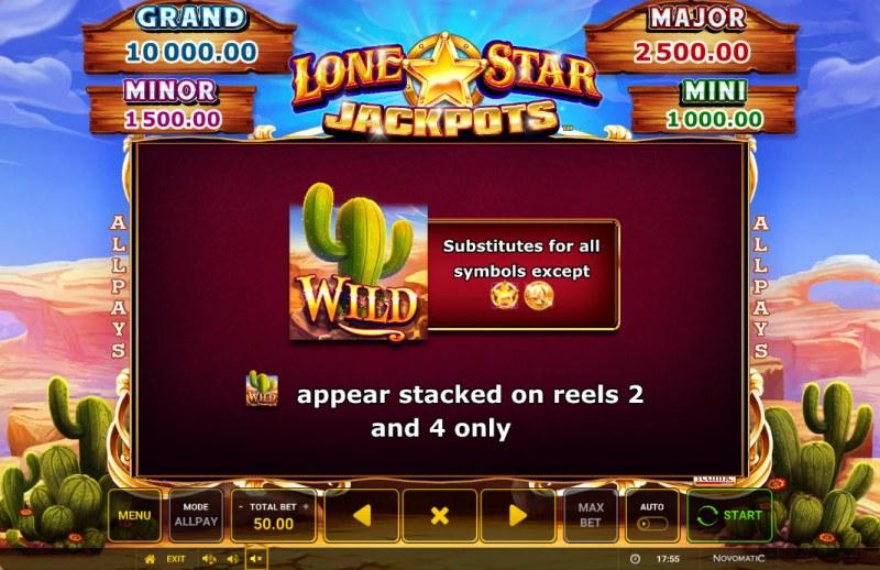 Lone Star Jackpots :: Wild Symbol Rules