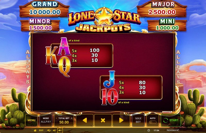 Lone Star Jackpots :: Paytable - Low Value Symbols