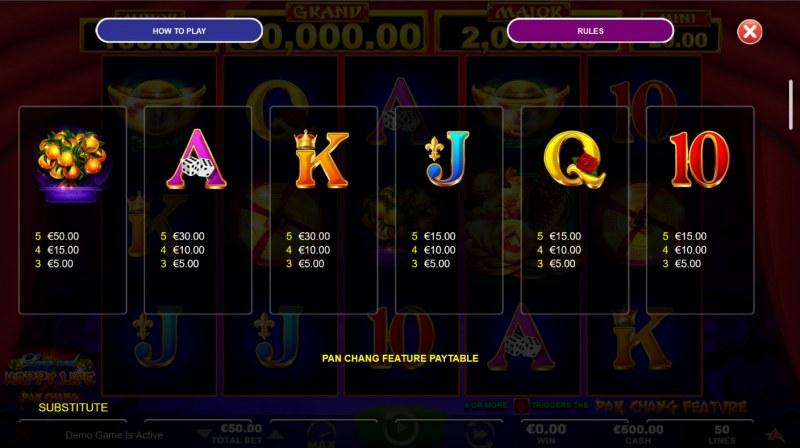 Long and Happy Life Pan Chang :: Paytable - Low Value Symbols