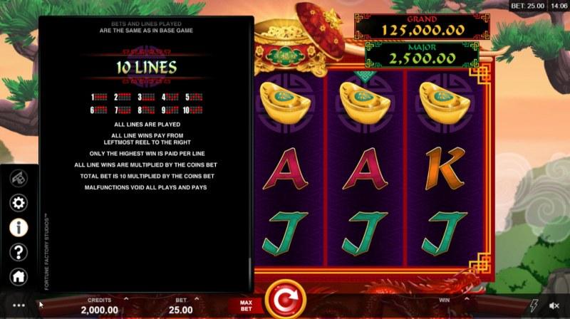 Long Mu Fortunes :: Paylines 1-10