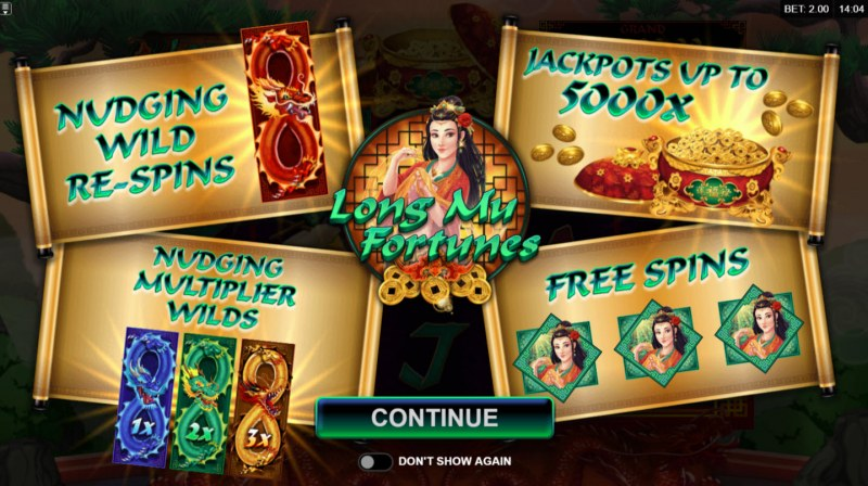 Play slots at Casino Luck: Casino Luck featuring the Video Slots Long Mu Fortunes with a maximum payout of $125,000