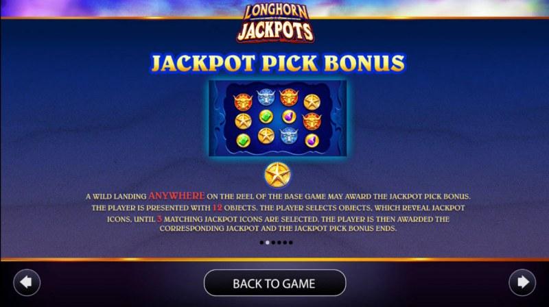 Longhorn Jackpots :: Jackpot Pick Bonus Rules