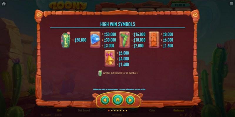 Loony Blox :: Paytable - High Value Symbols