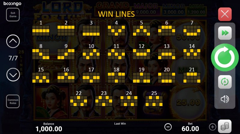 Lord Fortune Hold and Win :: Paylines 1-25