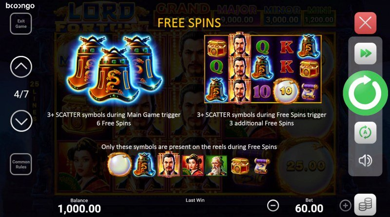 Lord Fortune Hold and Win :: Free Spin Feature Rules