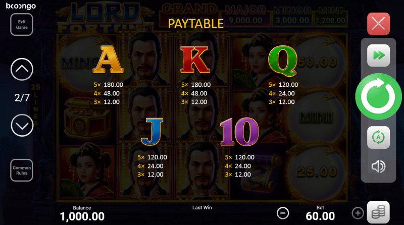 Lord Fortune Hold and Win :: Paytable - Low Value Symbols