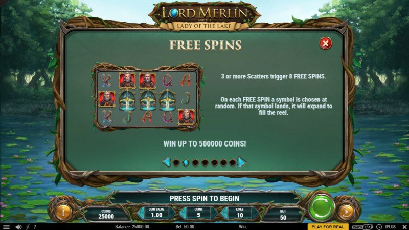 Lord Merlin and the Lady of the Lake :: Free Spin Feature Rules