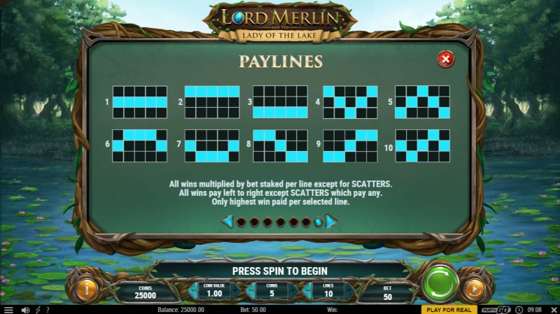 Lord Merlin and the Lady of the Lake :: Paylines 1-10