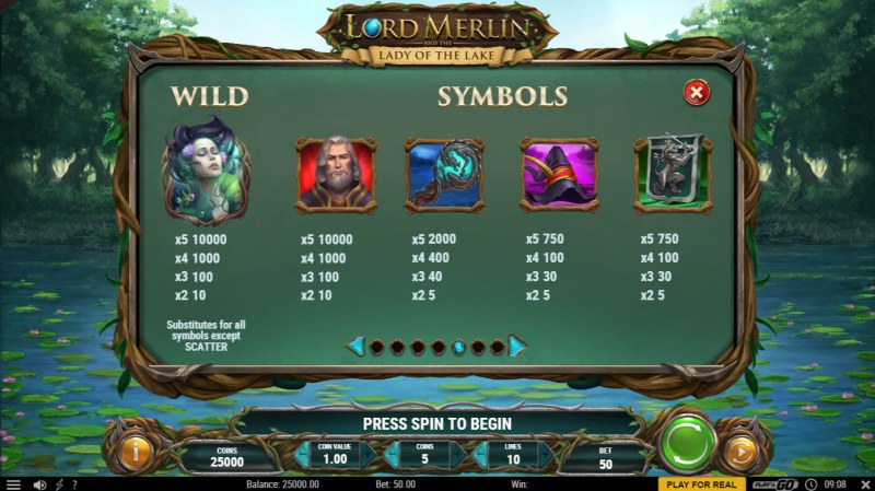 Lord Merlin and the Lady of the Lake :: Paytable - High Value Symbols