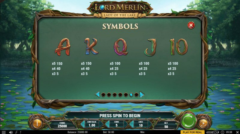 Lord Merlin and the Lady of the Lake :: Paytable - Low Value Symbols