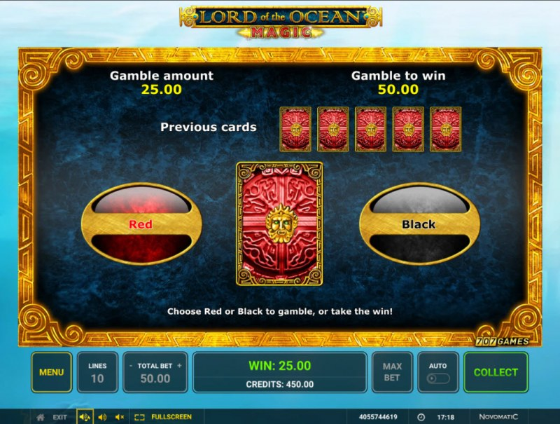 Lord of the Ocean Magic :: Red or Black Gamble Feature