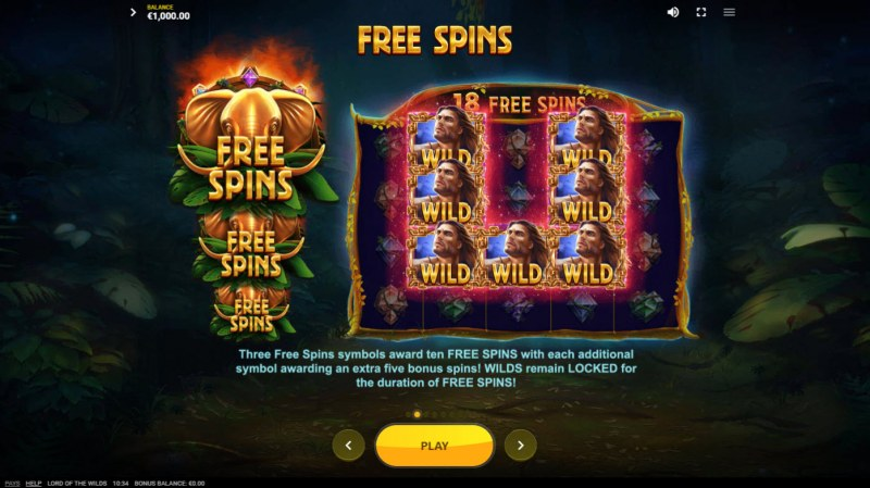 Lord of the Wilds :: Free Spin Feature Rules