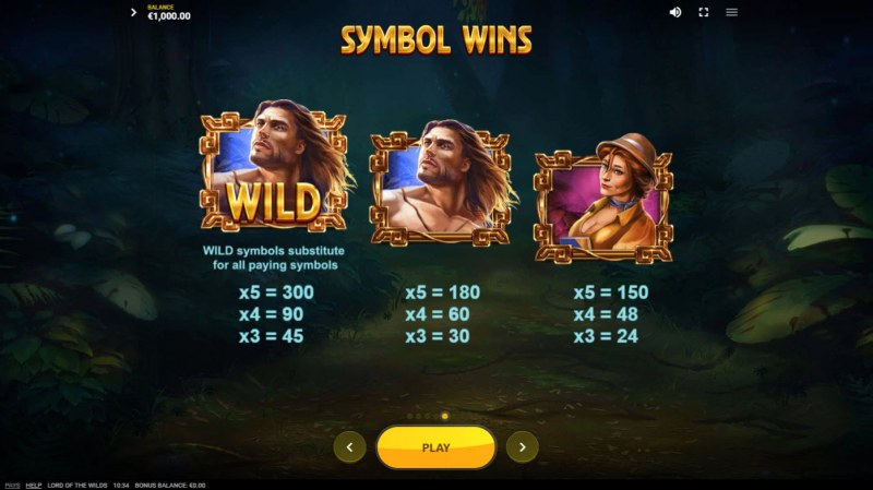 Lord of the Wilds :: Paytable - High Value Symbols