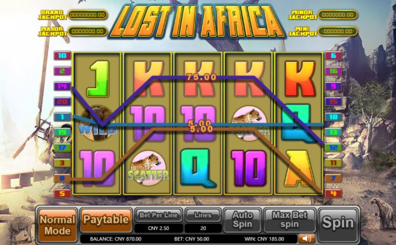 Lost in Africa :: Multiple winning paylines