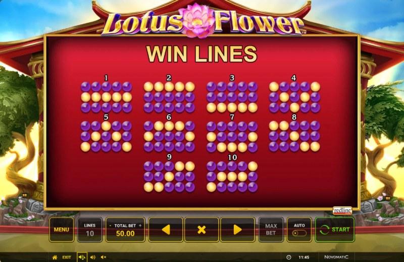 Lotus Flower :: Paylines 1-10