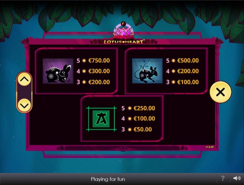 Lotus Heart :: Paytable - Medium Value Symbols