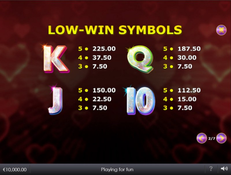 Lovefool :: Paytable - Low Value Symbols