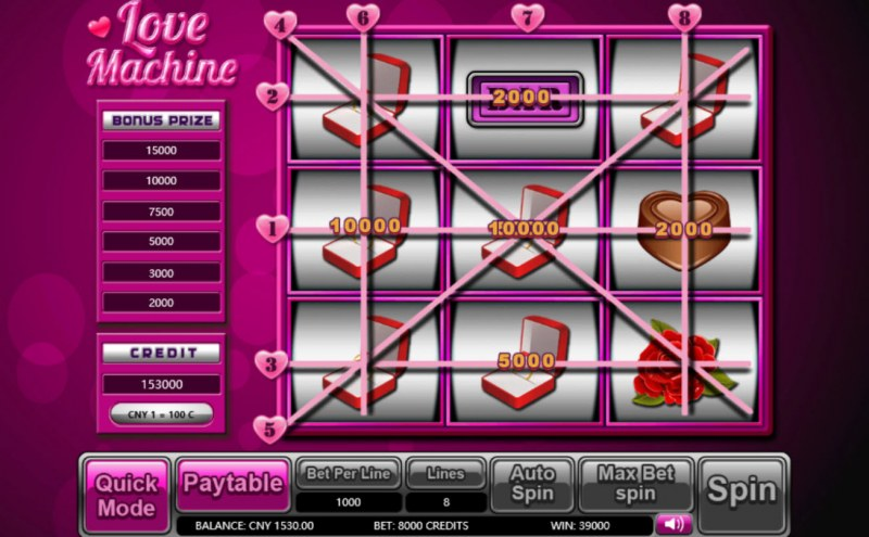 Lover Machine :: Multiple winning paylines