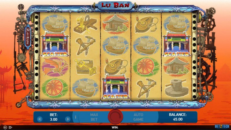 Lu Ban :: Scatter symbols triggers the free spins bonus feature