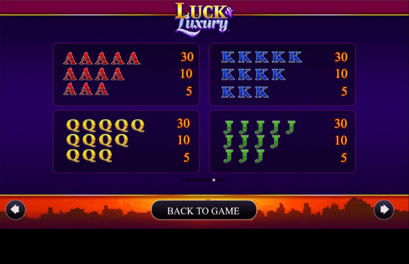 Luck & Luxury :: Paytable - Low Value Symbols