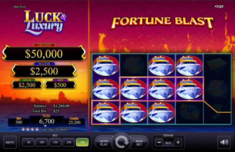 Luck & Luxury :: Multiple winning combinations lead to a big win
