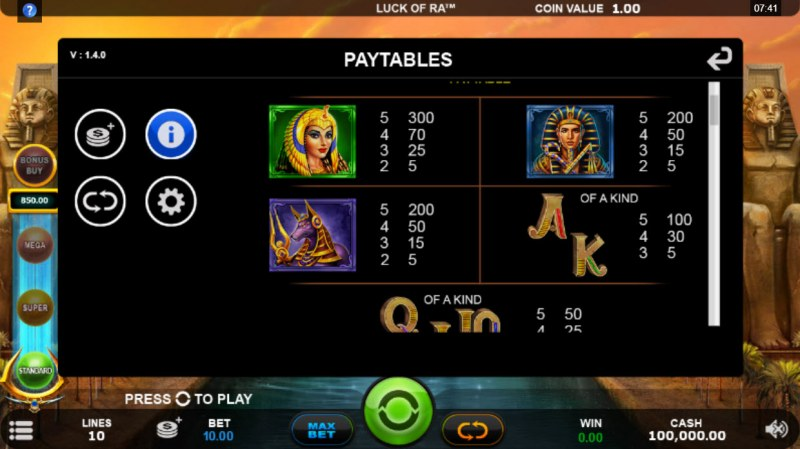 Luck of Ra :: Paytable - High Value Symbols