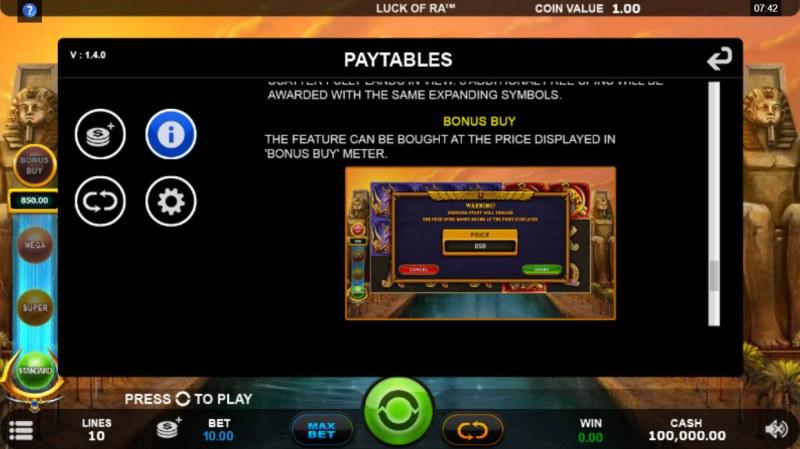 Luck of Ra :: Bonus Buy