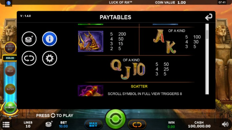 Luck of Ra :: Paytable - Low Value Symbols