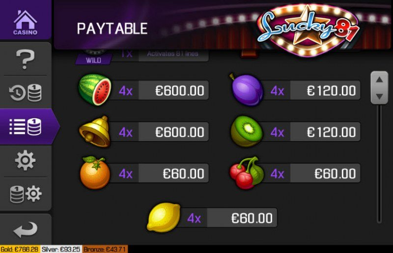 Lucky 81 :: Paytable - Low Value Symbols