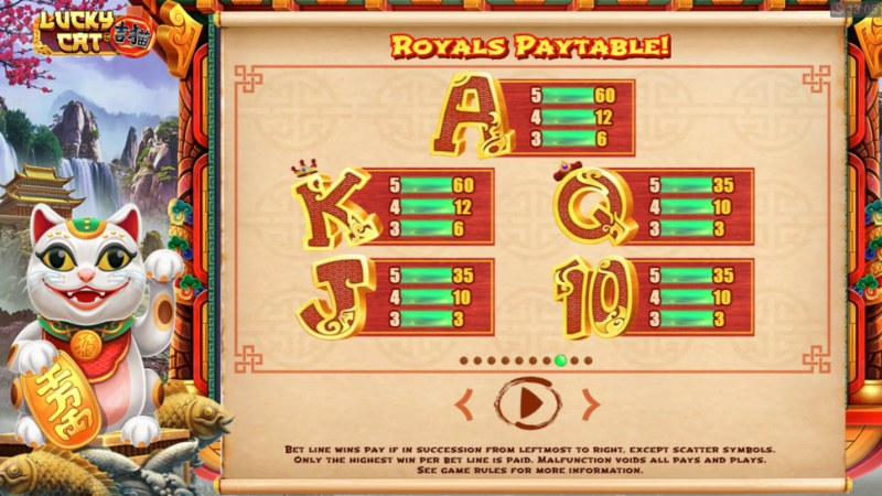 Lucky Cat :: Paytable - Low Value Symbols