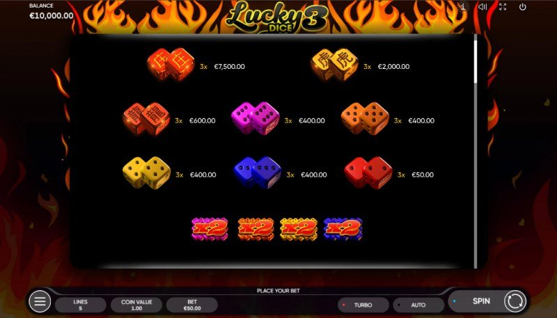 Lucky Dice 3 :: Paytable