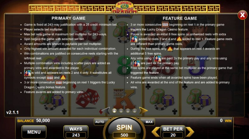 Lucky Dragon Casino :: Feature Rules
