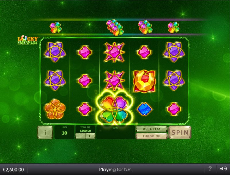 Lucky Emeralds :: Landing a clover wild on reel 3 activates the Clover Wild Feature