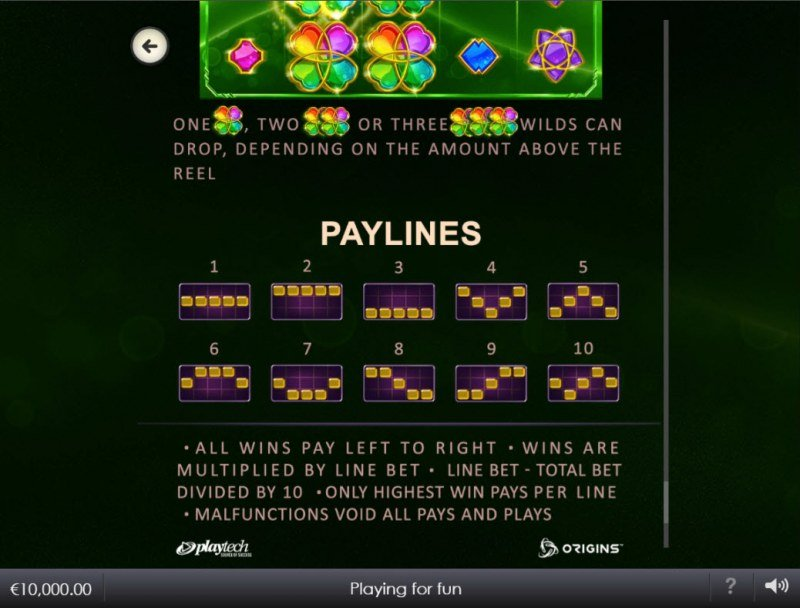 Lucky Emeralds :: Paylines 1-10