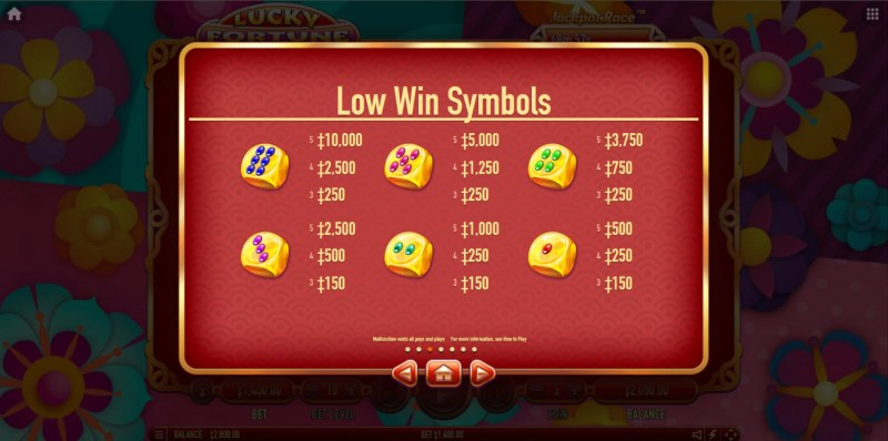 Lucky Fortune Cat :: Paytable - Low Value Symbols