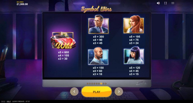 Lucky Fridays :: Paytable - Medium Value Symbols