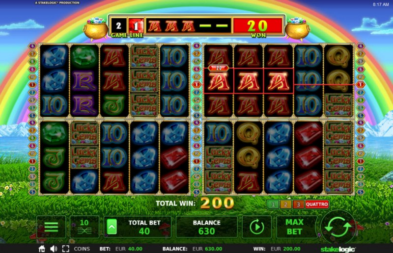 Lucky Gems Deluxe :: Multiple winning combinations leads to a big win