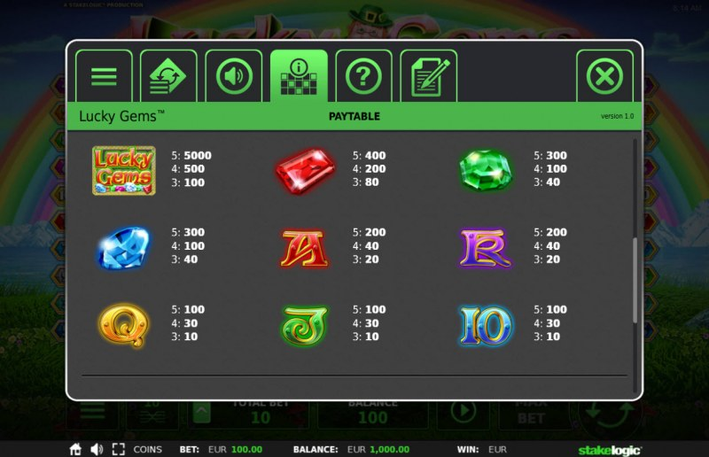 Lucky Gems Deluxe :: Paytable