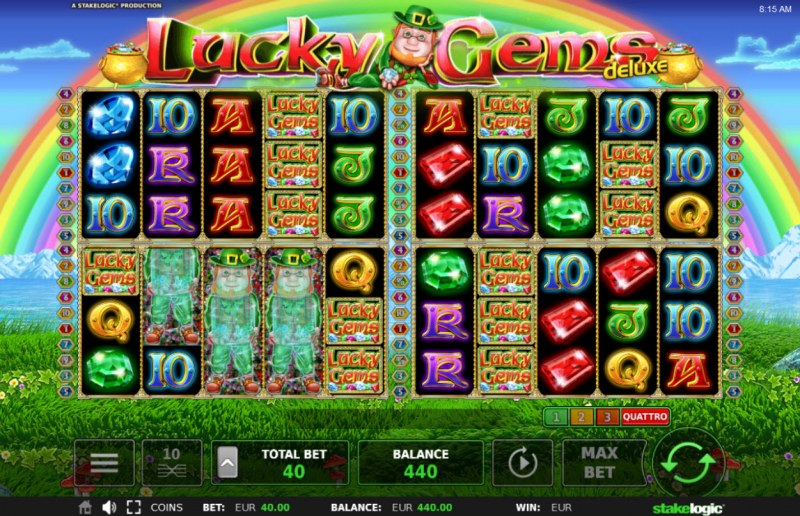 Lucky Gems Deluxe :: Landing mystery symbols on the reels change into randomly selected symbol