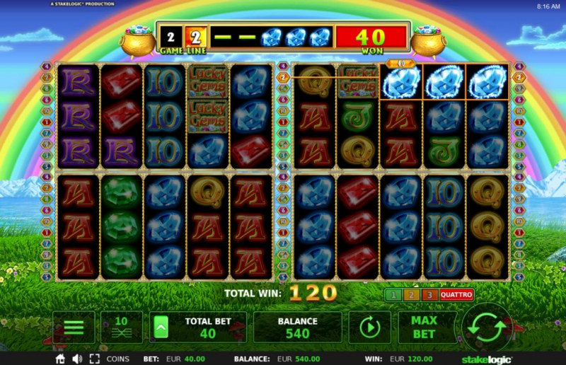 Lucky Gems Deluxe :: Game pays in both directions