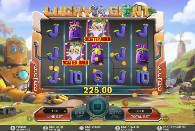 Lucky Giant :: Multiple winning paylines triggered by mystery symbols feature